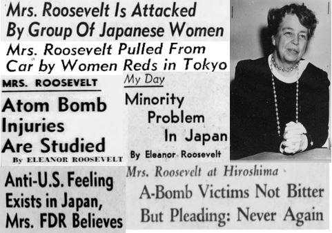 Eleanor Roosevelt in Japan in 1953. Newspaper Headline Collage by Patrick Parr.jpg