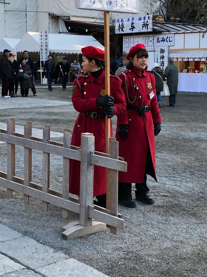 Security guards at Japanese shrine stand out with anime-like